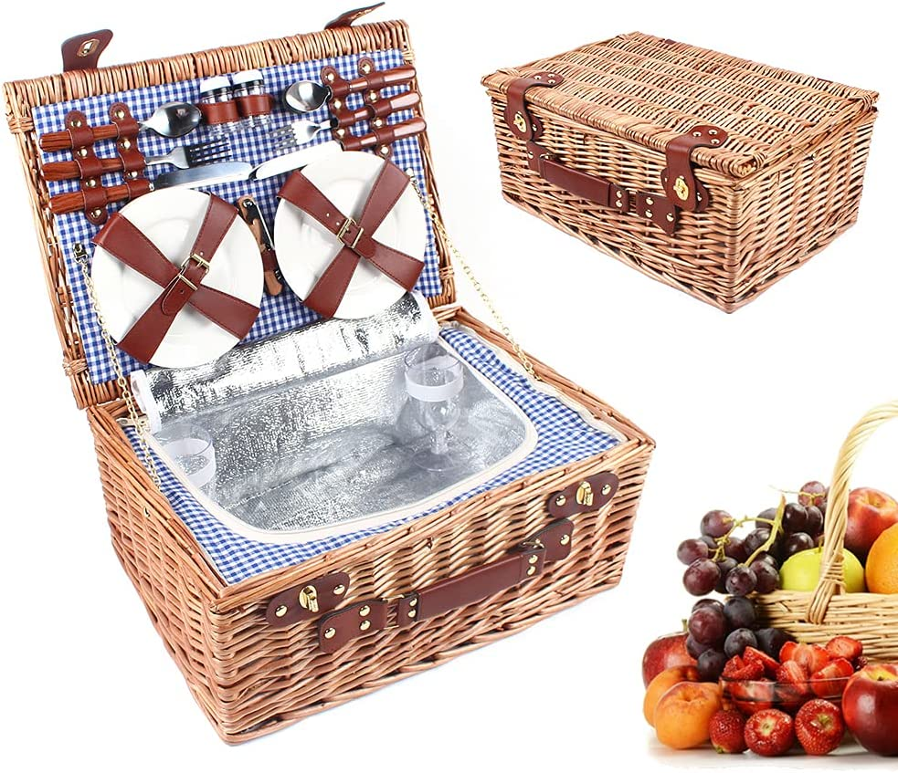 4 lowest price Person Picnic Basket Year-end annual account 19 Wicker Set Ware Vintage