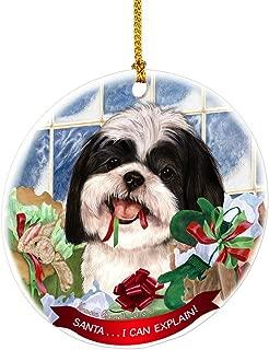 Shih Tzu Black White Santa I Can Explain Happy Howliday Round White Porcelain Hanging Ornament