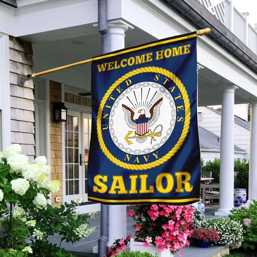 U.S. Navy Welcome Home Sailor Flag Pattern Garden Flag 28x40 Inch Double Sided Outdoor Outside Decorations House Decor Flags