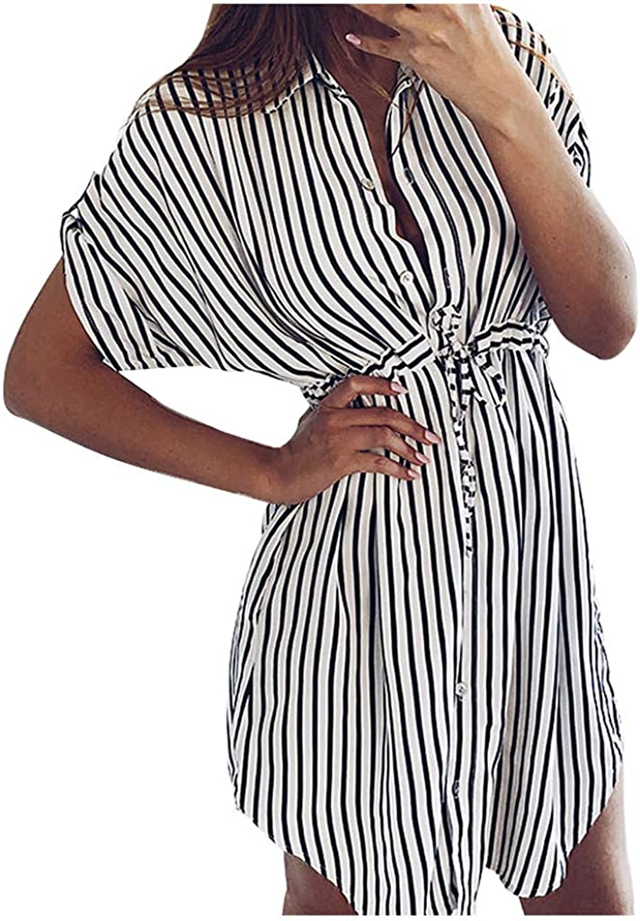 iLUGU Stripe New product! New type Popular standard Dresses for Women Fashion V-Neck Sexy Dre Deep Mini
