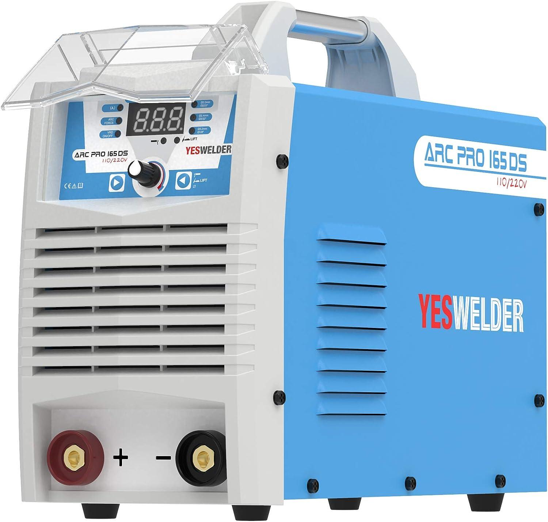 YESWELDER ARC Welder 165Amp Digital Inverter IGBT Stick MMA Welder,110/220V Dual Voltage Hot Start ARC Force Portable Welding Machine