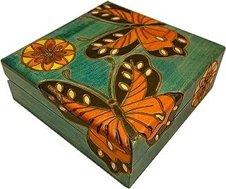 Butterfly and Flowers Box Polish Handmade Wood Keepsake Jewelry Box