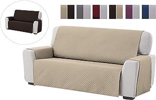 Textilhome - Funda Cubre Sofá Adele 2 Plazas Protector para Sofás Acolchado Reversible. Color Beige