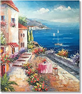 VV Art Italian Coast Town Beach Landscape Hand Painted Oil Painting Wall Art on Canvas Home Decoration Framed Ready to hang
