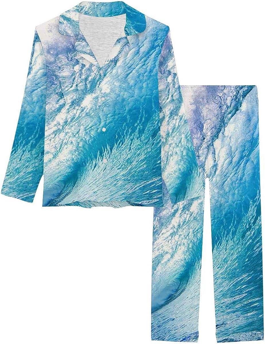 Portland Mall InterestPrint Women's Sleepwear Max 48% OFF Button Long with Down Nightwear