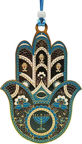 Talisman4U Blue Enamel Hamsa Hand Wall Hanging Home Decor With 7 Branch Menorah Evil Eye Protection Amulet Blue Gold