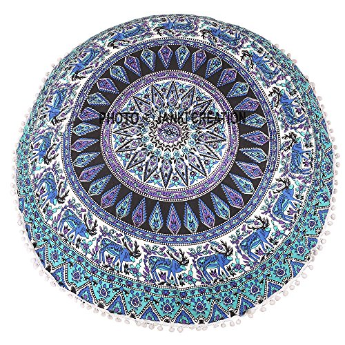 Mandala-Bodenkissen, rund, aus Baumwolle, Hippie-Hippie-Wandteppich, mehrfarbig, Baumwolle, runder Sitzsack, Mandala-Bodenkissen, Sitzkissen, Überwurf, dekorativer Bohemian-Pom-Pom-Pouf, 32 x 32 cm