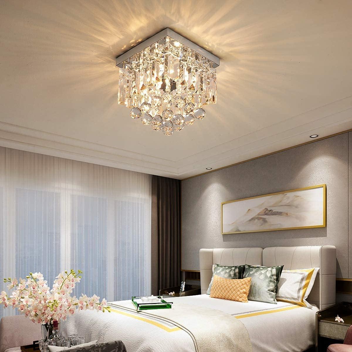 AIGU Crystal Ceiling Light Modern Flush fixtures Mount for Max Regular dealer 81% OFF