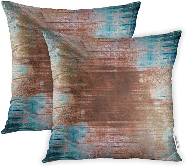 Emvency Pack Of 2 Throw Pillow Covers Print Polyester Zippered Brown Turquoise Abstract Pattern Gray Distressed Wall Pillowcase 18x18 Square Decor For Home Bed Couch Sofa