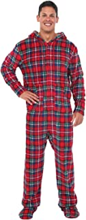 Men's Warm Fleece One Piece Footed Pajamas, Adult Onesie with Hood