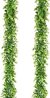DearHouse Faux Eucalyptus Garland Plant, 2 Pack Artificial Vines Hanging Eucalyptus Leaves Greenery Garland for Wedding Backdrop Arch Wall Decor, 6 Feet/pcs UV Protected Indoor Outdoor