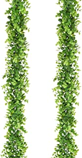 Artiflr Faux Eucalyptus Garland Artificial Vines, 2 Pack Eucalyptus Greenery Garland Wedding Backdrop Arch Wall Decor, 6 Feet/pcs Fake Hanging Plant for Table Festival Party Decorations