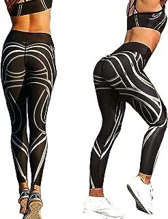Shentukeji Women Yoga Pants Printed Stretch Tight Leggings High Waist Tummy Control Workout Pants for Fitness Running Hiking