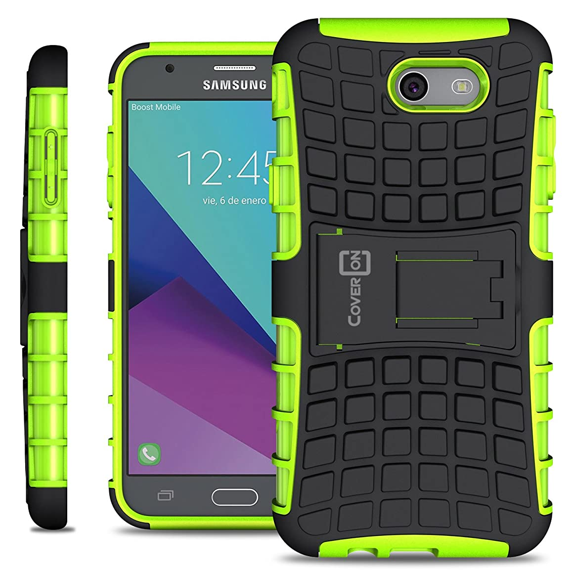 Galaxy J7 Prime Case, Galaxy J7 Sky Pro Case, Galaxy Halo Case, CoverON Atomic Series Hybrid Kickstand Protective Dual Layer Hard Phone Cover - Green on Black