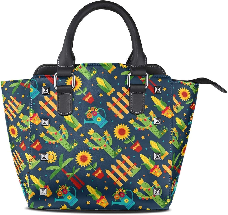 My Little Nest Women's Top Handle Satchel Handbag Cartoon Cactus Ladies PU Leather Shoulder Bag Crossbody Bag