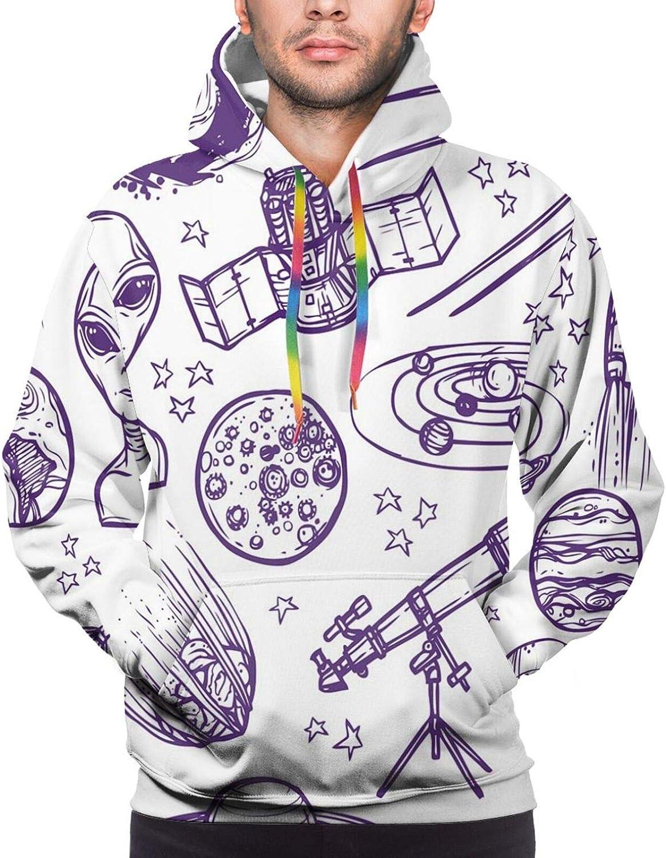 Men's Hoodies Sweatshirts,Minimalist Space Graphic Satellite Orbit Radar Saturn Telescope Space Theme