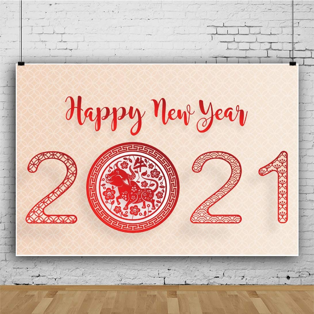 OFILA 2021 Happy New Year Backdrop 12x10ft 2021 Chinese Spring Festival Photography Background Year of The Ox Backdrop Chinese Lunar New Year Background Video Backdrop Props