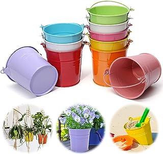 Jeteveven 10 Pcs Mini Pot de Fleur en Fer Pot Plante Mural Seau Fleur Suspendu Déco Balcon Jardin 10 Couleurs Différentes ...