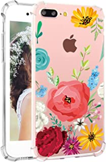 Hepix Flowers iPhone 7 Plus Case Floral iPhone 8 Plus Clear Case for Women Protective TPU iPhone Case with Bumpers Soft Flexible TPU Back Phone Cover