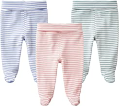 SYCLZ Baby Cotton High Waist Footed Pants Casual Leggings 0-12M