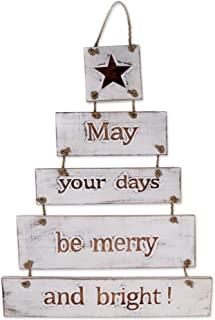 NOVICA White Wood Hanging Inspirational Sign, 'Good Wishes'