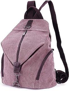 JOSEKO Frauen Leinwand Rucksack, Canvas Tasche Rucksäcke Damen Umhängentasche Große Kapazität Reisetasche Vintage Schultasche für Reise Outdoor SchuleKaffee