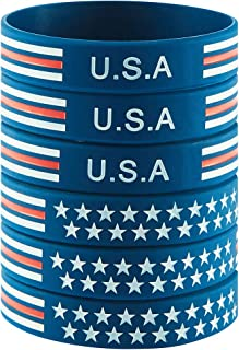 BRANDWINLITE Silicone Rubber Wristbands Bracelet with American Flag Blue,American Power Eagle Black and Army Green for American Patriots, Army and Sport Fans