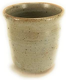 Hand Made Clay Round Bathroom Cup, Grey & Tan Glazed With Gloss Finish, Pottery is Perfect To Hold Toothpicks, Q Tips, Pencils, ect, Approximate Size 3 Inches by 3 Inches