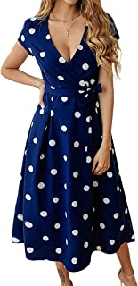 ECOWISH Women's Summer V Neck Polka Dot Short Sleeve Vintage Wrap Dress with Belt