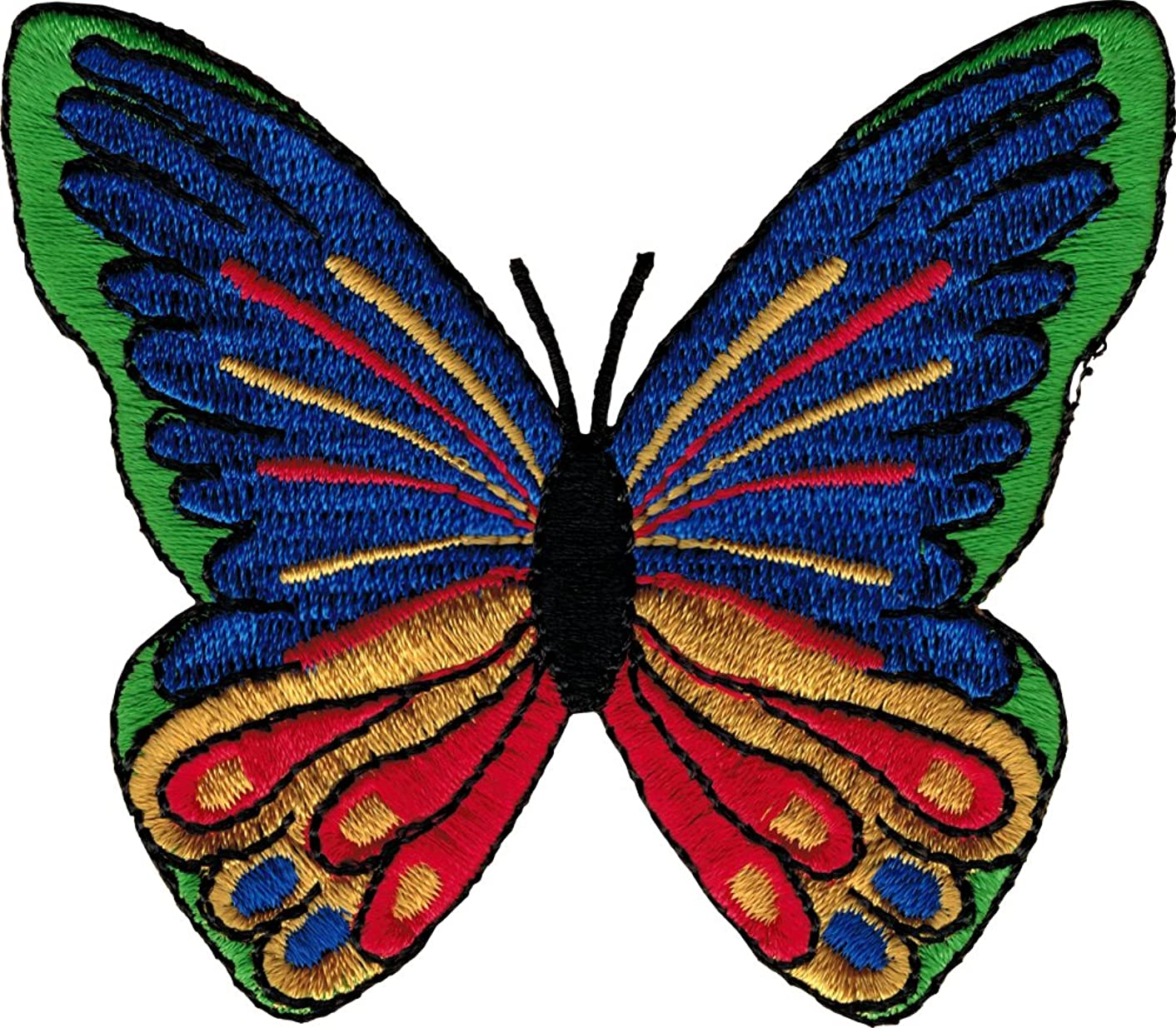 Beautiful Butterfly in Primary Colors (Red, Orange, Yellow, Green, Blue, Purple & Black) - Embroidered Iron On or Sew On Patch