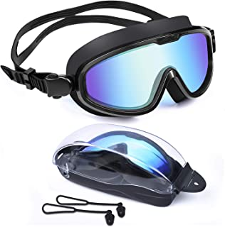 Letsfit Swim Goggles, No Leaking Anti-Fog Indoor Outdoor Swimming Goggles with UV Protection Mirrored Clear Lenses for Women Men Youth