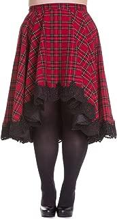 Hell Bunny Plus Victorian Rock Red Royal Stewart Tartan High-Low Flare Circle Skirt