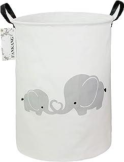 FANKANG Storage Bins, Nursery Hamper Canvas Laundry Basket Foldable with Waterproof PE Coating Large Storage Baskets for K...