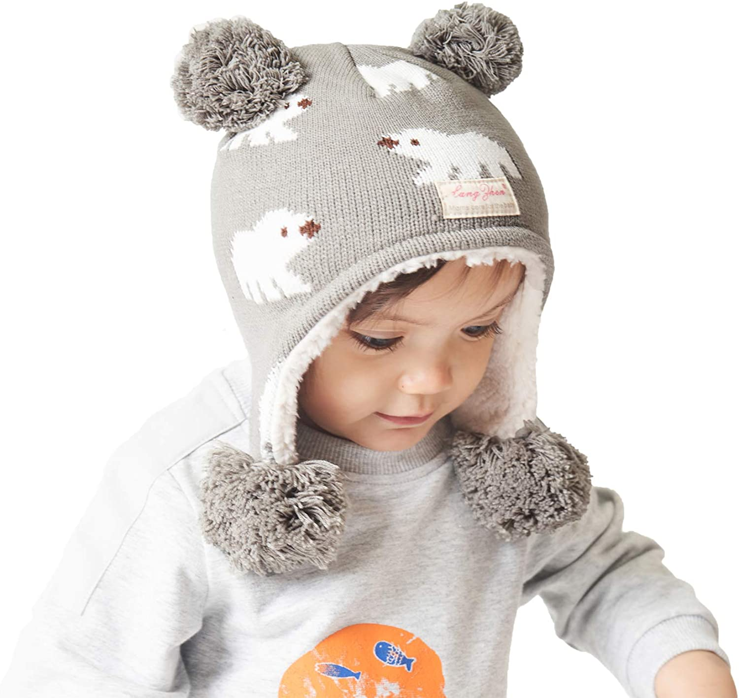 Aigemi Baby Toddler Winter Beanie Hat,Infant Earflap Warm Knit Cap Kids Fleece Lined Hat for Boys and Girls