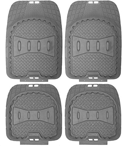 wholesale OxGord 4pc outlet online sale Full Set Deep Dish Rubber Floor Mats, sale Universal Fit Mat for Car, SUV, Van Trucks - Front Rear, Driver Passenger Seat - Gray sale