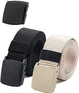 Nylon Canvas Belt Plastic Buckle Belt Hiking Belt Military Tactical Waist Belt 2 Pack by ViViKiNG