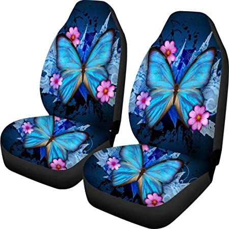 chaqlin Universal Black Car Seat Cover Blue Butterfly Printing Set of 2 Front Full Auto Accessories Protector Case Bag for Women Men Fit SUV Van Sedan Truck