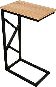 bonvivo®–Mesa de café Giorgio, aspecto de madera, Negra, Estructura de acero