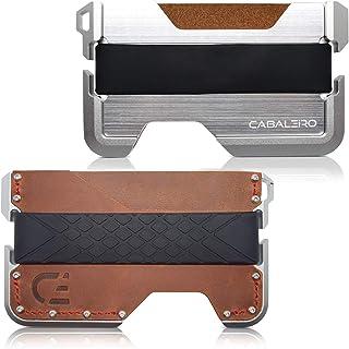 Cabaleiro Mens Slim Aerospace Grade Aluminium Leather Card Holder Wallet With RFID Blocking