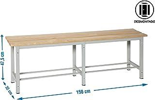 Simonrack 90438D1500 Banco desmontado, 1500 x 475 x 320 mm, Gris/madera