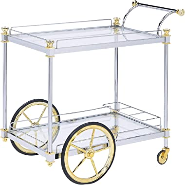 Design Guild Rolling 2 Tier Glass & Metal Rectangle Serving Cart w Wheels- Wine Rack & Liquor Barware Storage For Kitchen, Dining Room, Home Bar, Or Buffet, Silver