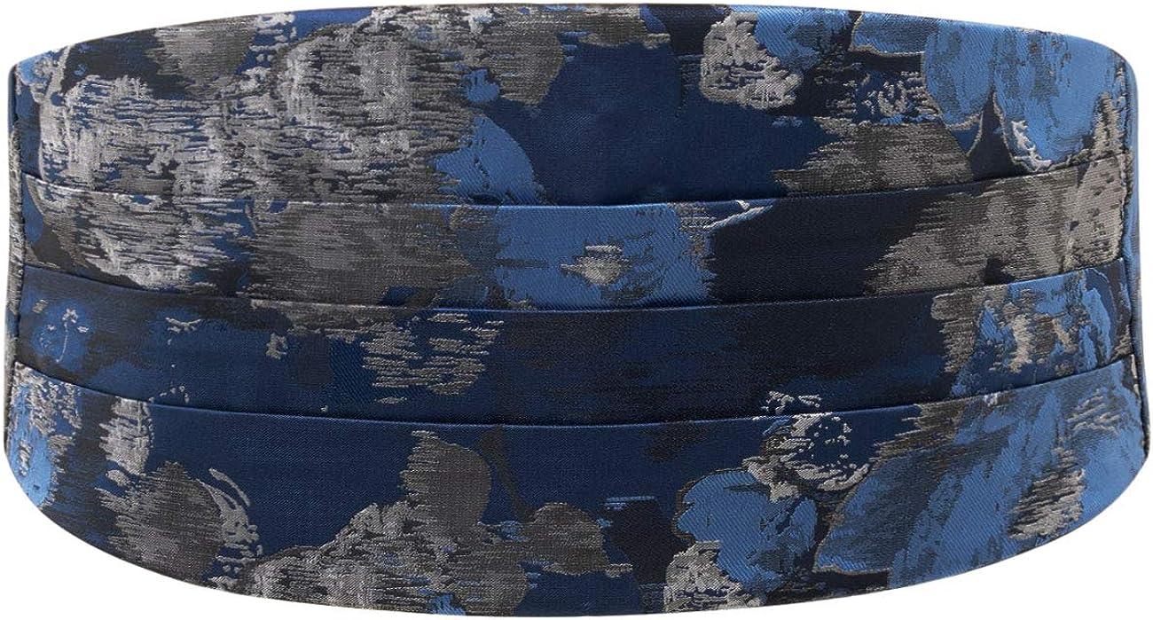 Dobell Mens Blue Floral Jacquard Cummerbund