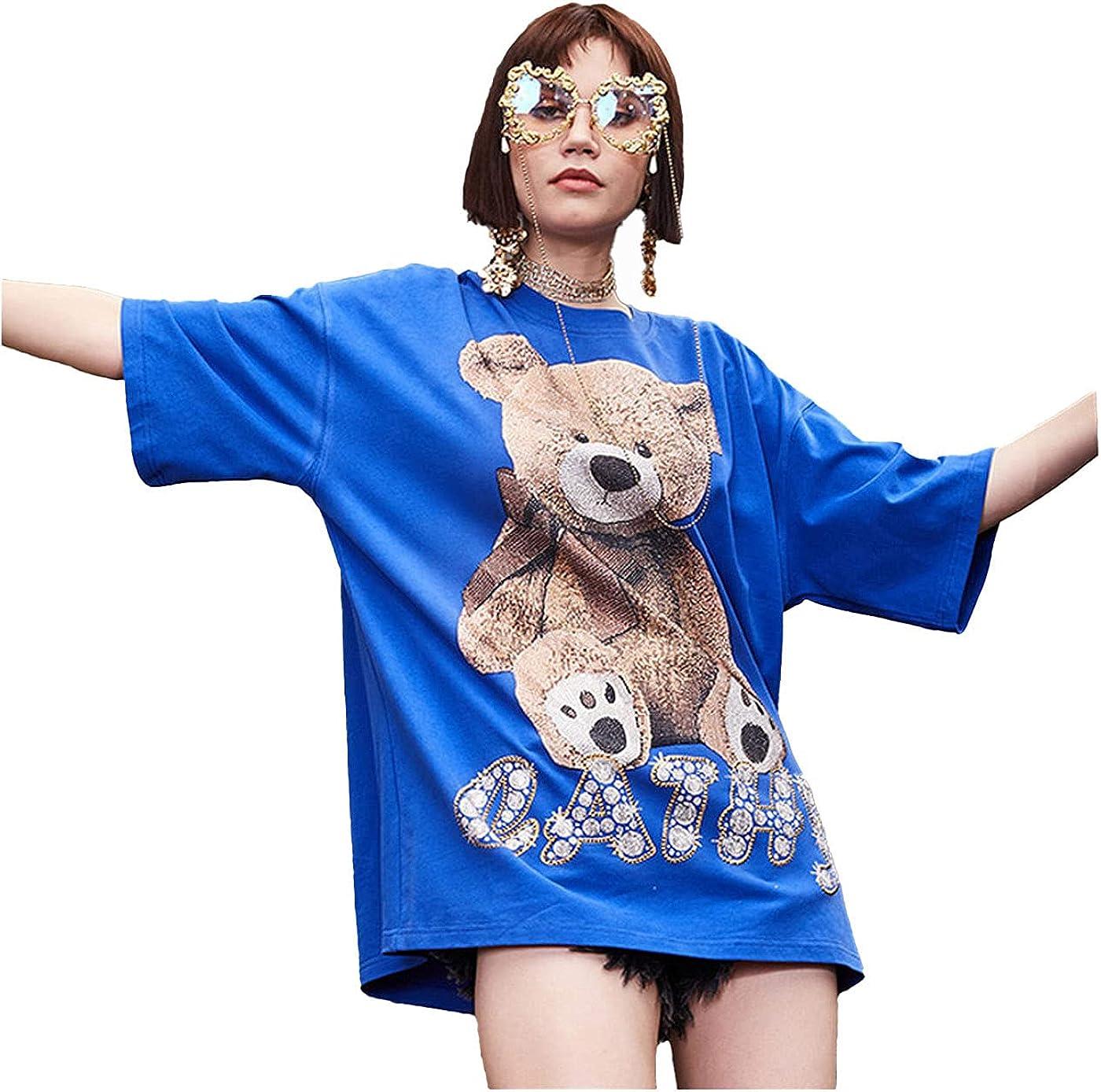 F/F·X Bear Rhinestone Loose Blue Short T-Shirt