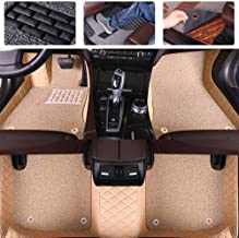 Custom Car Floor Mats for Ford Ranger 2011-2019 Double Layer Luxury Leather Waterproof Anti-Skid Full Coverage FloorLiner Front & Rear Mat/Set (Beige + Beige)