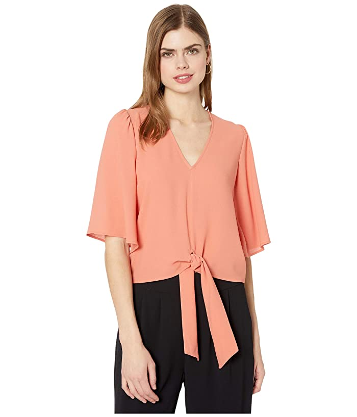 1.STATE  Flounce Sleeve Tie Front V-Neck Blouse (Romantic Apricot) Womens Blouse