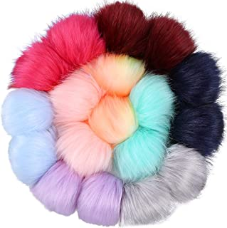 Auihiay 18 Pieces Colorful Faux Fur Fluffy Pompoms Ball with Rubber Band for Hat Shoes Scarves Bag Charms (Mix Bright Color)