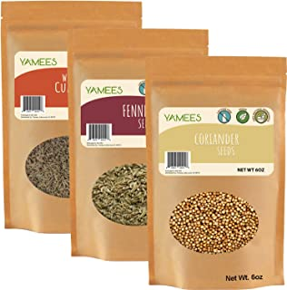 Cumin Seed, Fennel Seed and Coriander Seed - Ingredients for CCF Tea - Bulk Spices - 3 Pack of 6 Ounces Each
