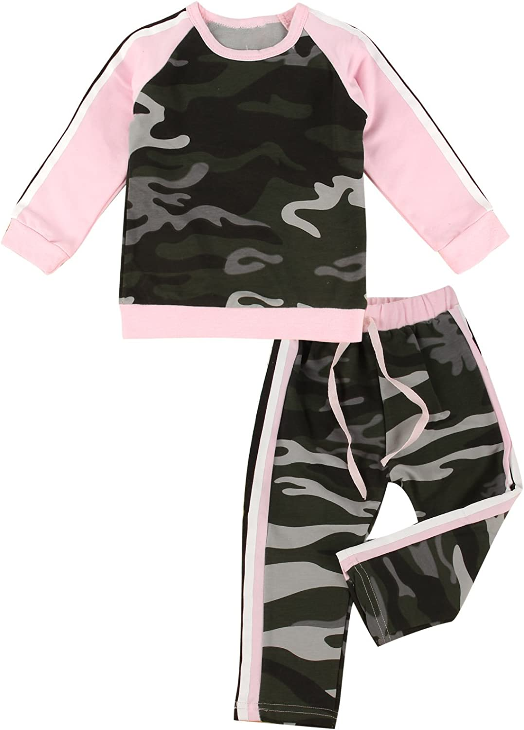 puseky Toddler Baby Girls Camouflage Long Sleeve Shirt /& Pants Tracksuit Outfits Set