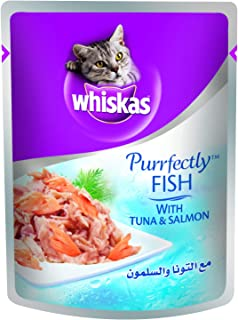 Whiskas Purrfectly Tuna and Salmon Wet Cat Food Pouch, 85 g