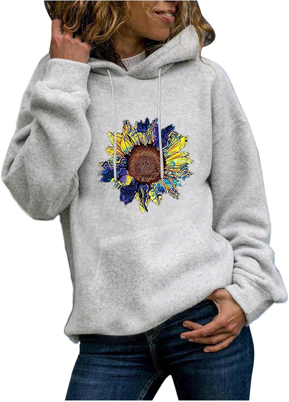 NEEKEY Womens Outstanding Lightweight Hoodies Casual Long Print Sunflower Cheap Sl